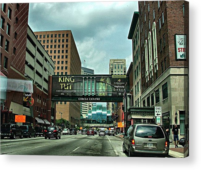 Downtown Acrylic Print featuring the photograph King Tut In Indy by Julie Dant