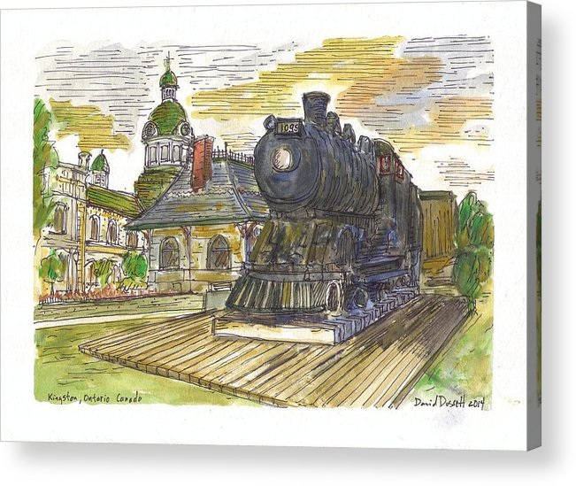 Train Acrylic Print featuring the painting Kingston Ontario Canada by David Dossett