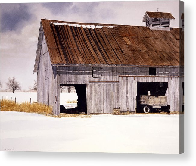 Landscape Acrylic Print featuring the painting Lin's Barn by Tom Wooldridge