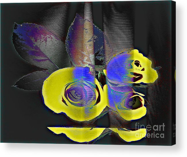 Yellow Rose Image Acrylic Print featuring the digital art Lovely II by Yael VanGruber