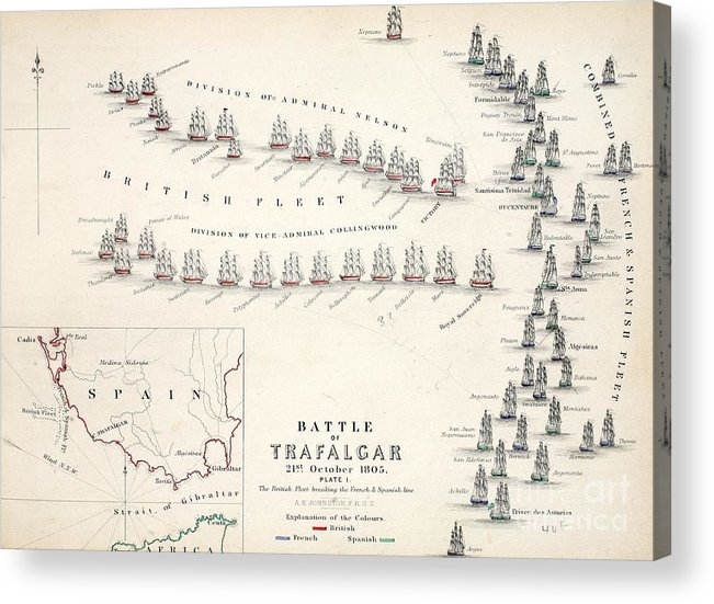 Map Acrylic Print featuring the drawing Map Of The Battle Of Trafalgar by Alexander Keith Johnson