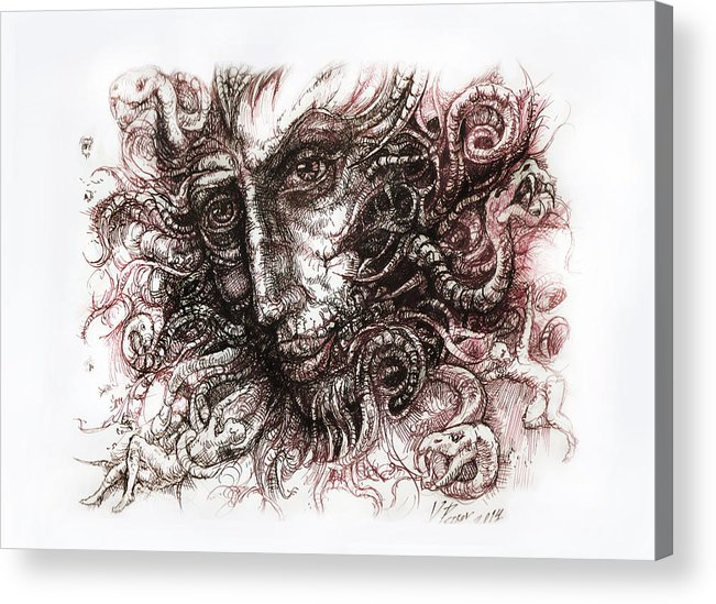 Black And White Paintings Acrylic Print featuring the digital art Medusa by Vladimir Petrov