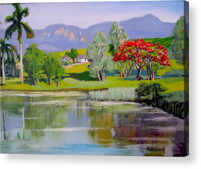 Oil Acrylic Print featuring the painting Old Farm by Jose Manuel Abraham