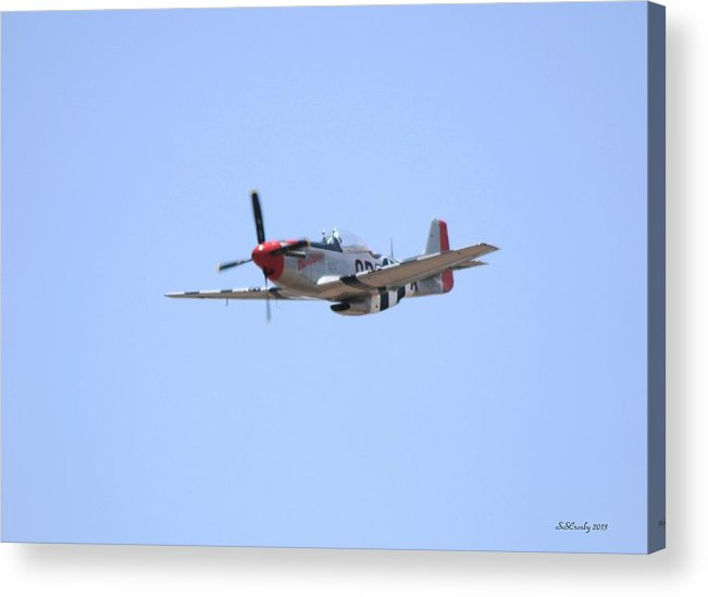 Mustang P-51 Aircraft Acrylic Print featuring the photograph P-51 Mustang In Flight by Susan Stevens Crosby