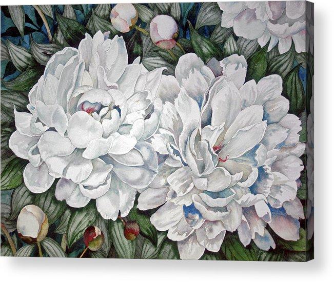 Flowers Acrylic Print featuring the painting Peonies Love Ants by Helen Klebesadel