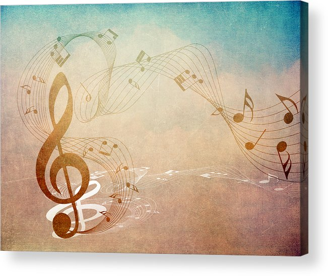 Music Acrylic Print featuring the mixed media Please Dont Stop The Music by Angelina Vick