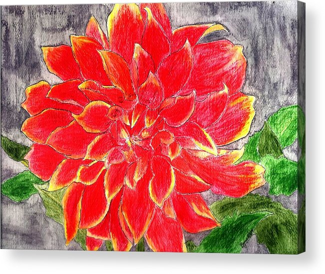 Flower Acrylic Print featuring the painting Red Dalia by Margie Byrne