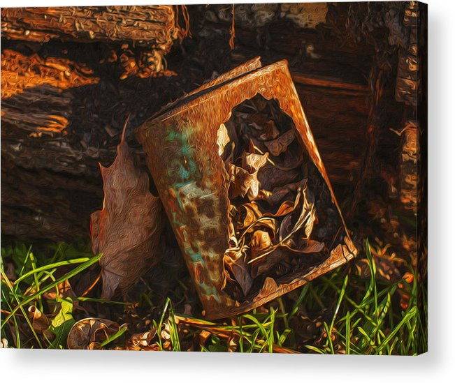 Landscape Acrylic Print featuring the painting Rusted Can Of Leaves by Jack Zulli