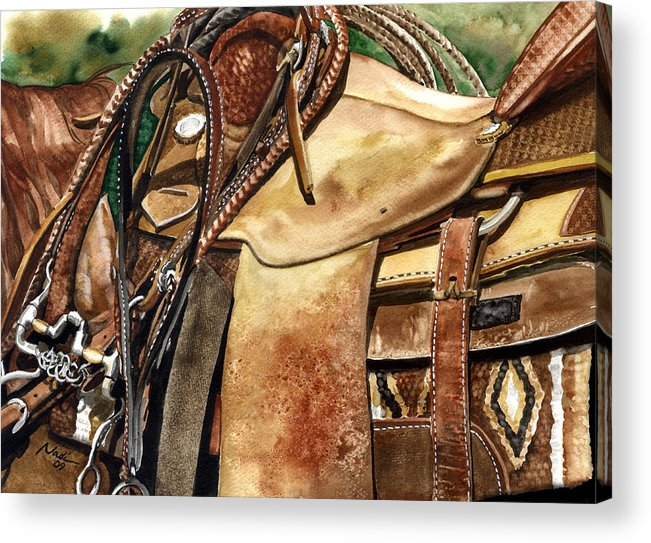 Cowboy Acrylic Print featuring the painting Saddle Texture by Nadi Spencer