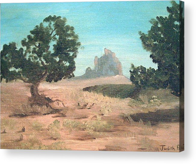 Mountain Acrylic Print featuring the painting Ship Rock New Mexico by Judi Pence