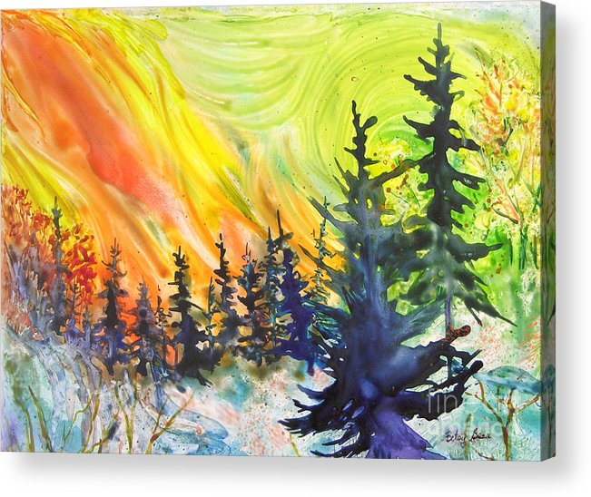 Vibrant Acrylic Print featuring the painting Skyfire by Betsy Bear