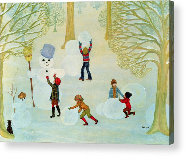 Winter Acrylic Print featuring the painting Snowmen by Ditz