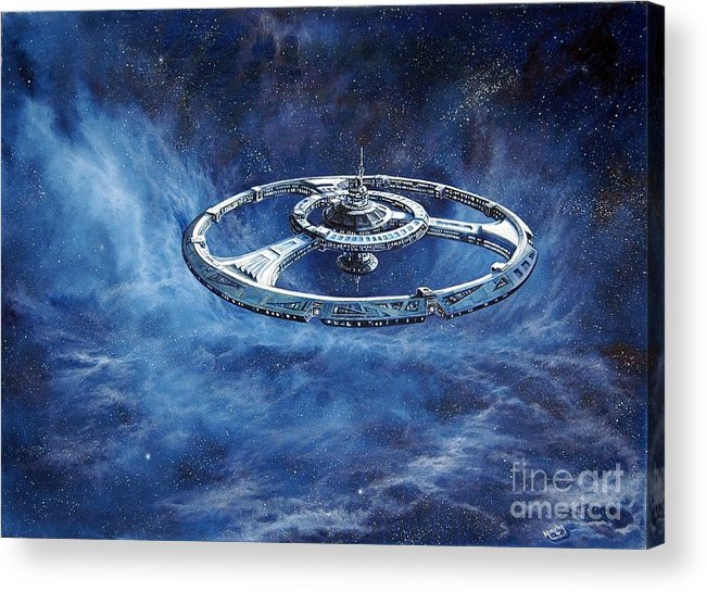 Sci-fi Acrylic Print featuring the painting Deep Space Eight Station Of The Future by Murphy Elliott