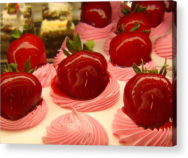 Food Acrylic Print featuring the painting Strawberry Mousse by Amy Vangsgard
