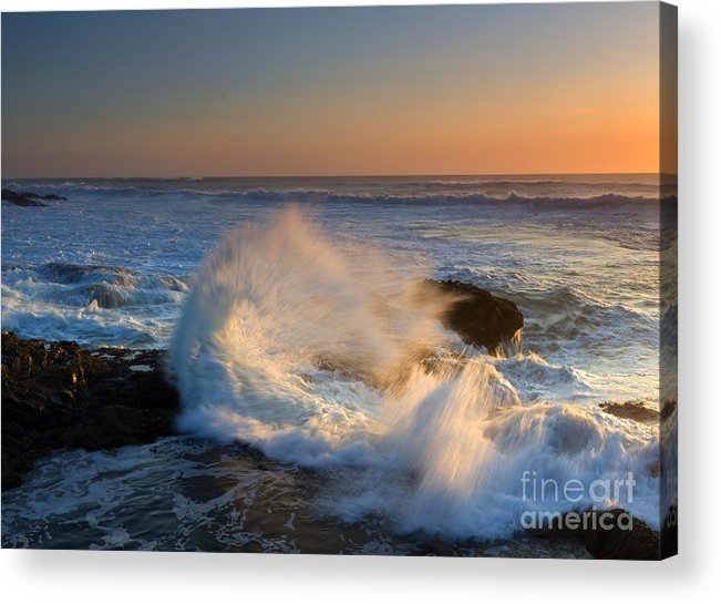 Yachats Acrylic Print featuring the photograph Sunset Spray by Mike Dawson