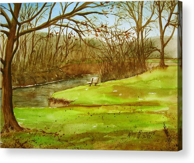 Creek Acrylic Print featuring the painting Swift's Landing Park by Kim Lucianovic