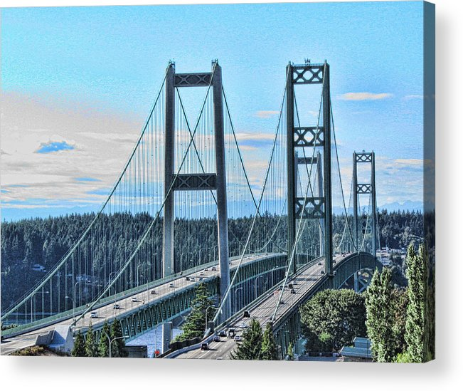 Tacoma Narrows Bridge Framed Prints Acrylic Print featuring the photograph Tacoma Narrows Bridge 51 by Ron Roberts