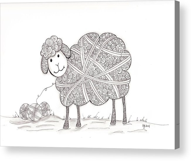 Zentangle Acrylic Print featuring the drawing Tangled Sheep by Christianne Gerstner