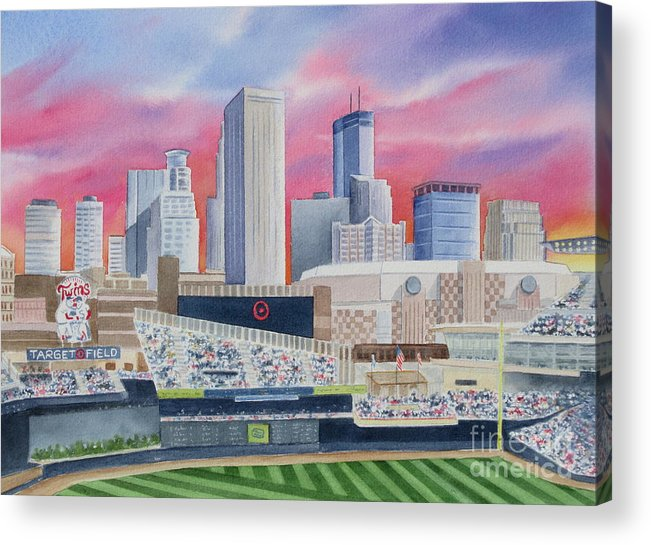 Target Field Acrylic Print featuring the painting Target Field by Deborah Ronglien