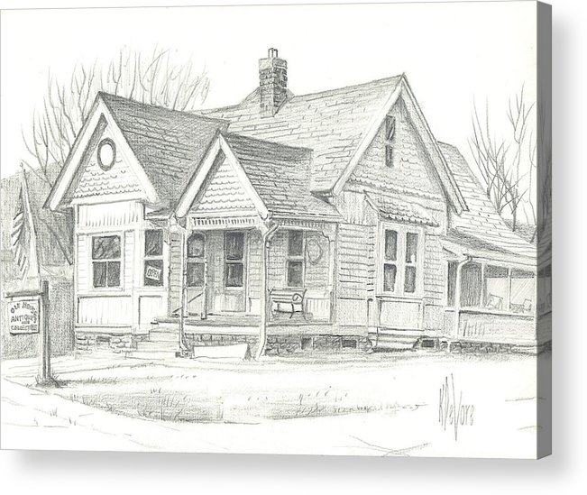 The Antique Shop Acrylic Print featuring the drawing The Antique Shop by Kip DeVore