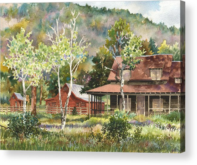 Barn Painting Acrylic Print featuring the painting The Delonde Homestead At Caribou Ranch by Anne Gifford