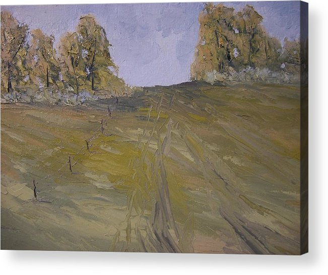 Oil Acrylic Print featuring the painting The Fence Row by Dwayne Gresham