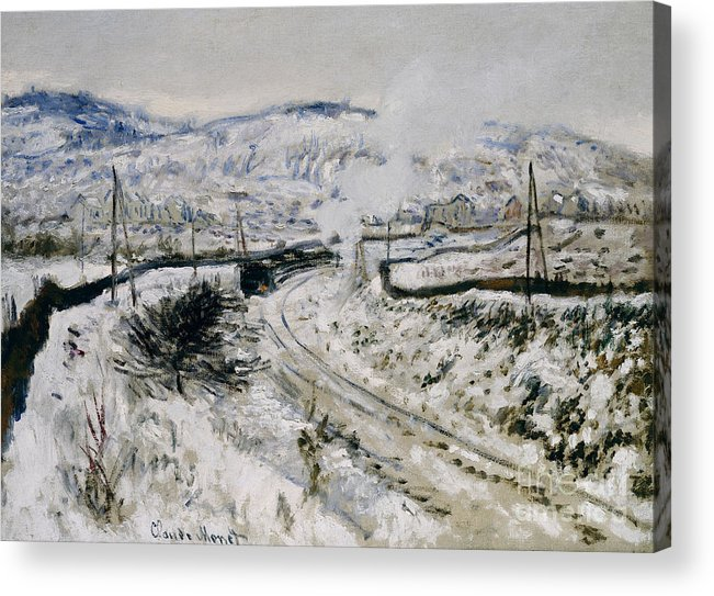 Winter Acrylic Print featuring the painting Train In The Snow At Argenteuil by Claude Monet