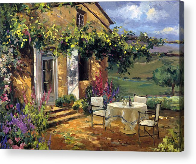 Landscape Acrylic Print featuring the painting Vineyard Villa by Allayn Stevens