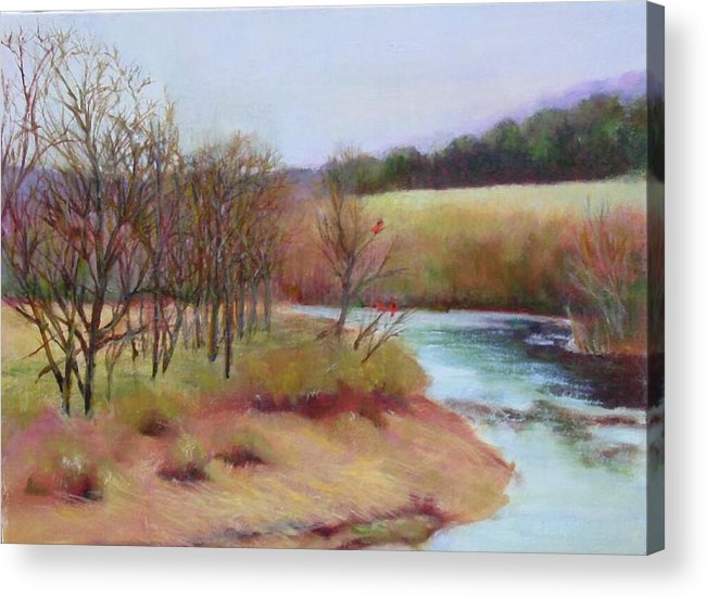 Landscape Acrylic Print featuring the painting Winter Creek         Copyrighted by Kathleen Hoekstra