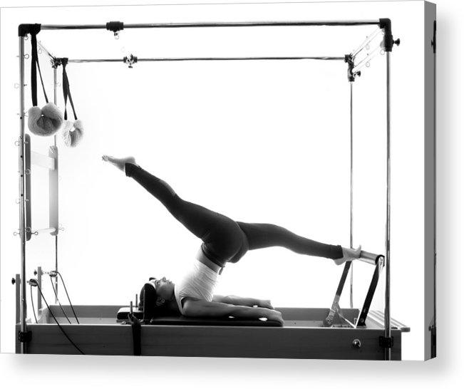 Woman Pilates Chair Exercises Fitness Stock Photo: Woman Pilates Reformer Exercises Fitness Isolated Acrylic