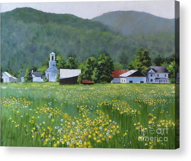 Mountains Acrylic Print featuring the painting Yellow Daisies by Karol Wyckoff