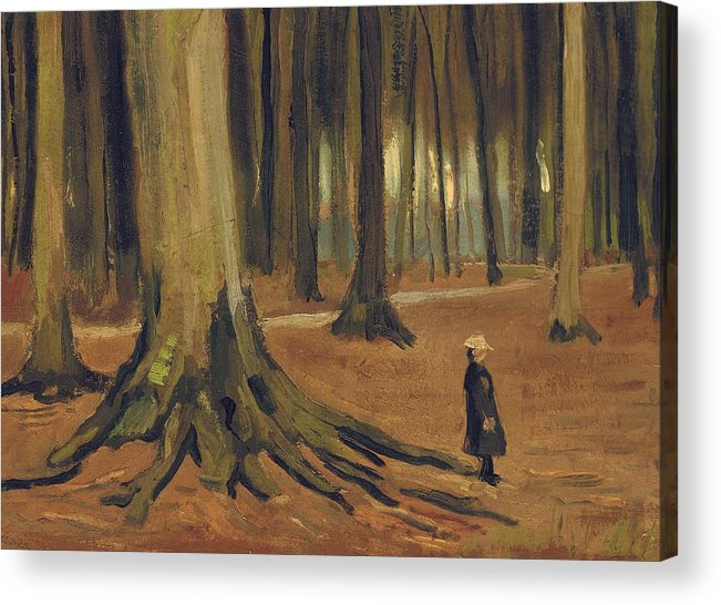 Vincent Van Gogh Acrylic Print featuring the painting A Girl In A Wood by Vincent van Gogh