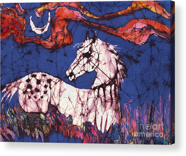 Batik Acrylic Print featuring the tapestry - textile Appaloosa In Flower Field by Carol Law Conklin