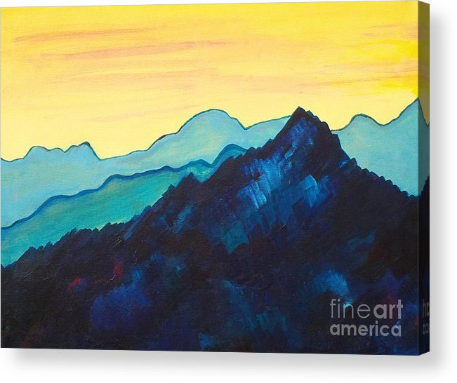 Landscape Acrylic Print featuring the painting Blue Mountain II by Silvie Kendall