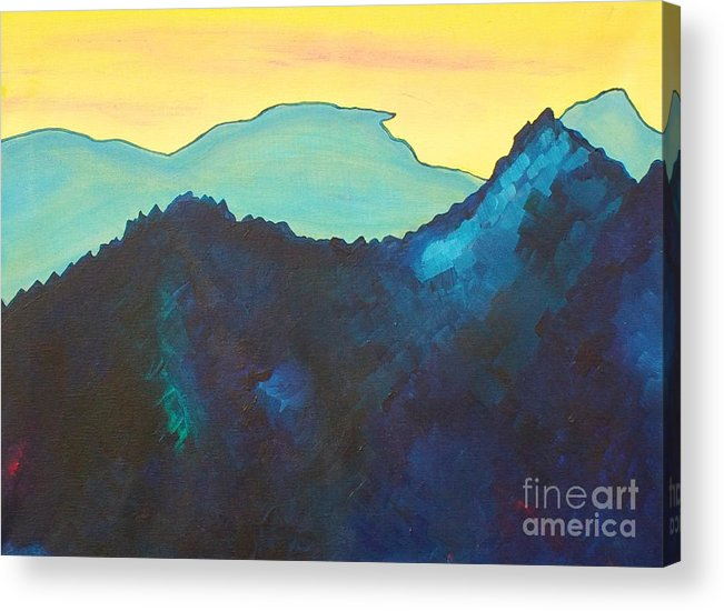 Landscape Acrylic Print featuring the painting Blue Mountain by Silvie Kendall
