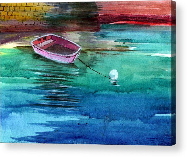 House Acrylic Print featuring the painting Boat And The Buoy by Anil Nene
