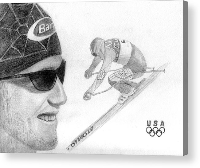 Bode Miller Acrylic Print featuring the drawing Bode Miller by Pat Moore