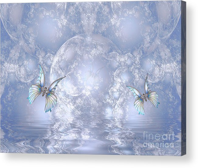 Fractals Apophysis Acrylic Print featuring the digital art Butterfly World by Elaine Manley