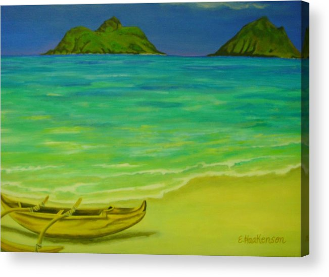 Elaine Haakenson Acrylic Print featuring the painting Canoe At Lanikai Beach by Elaine Haakenson