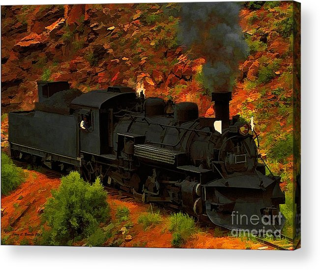 Black Acrylic Print featuring the mixed media Canyon Train by Jerry L Barrett