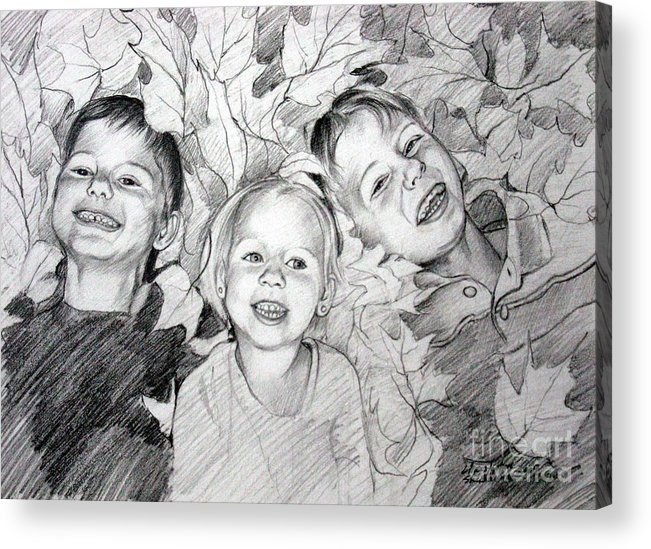 Children Acrylic Print featuring the drawing Children Playing In The Fallen Leaves by Christopher Shellhammer