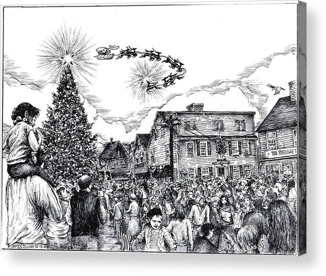 Rockport Acrylic Print featuring the drawing Christmas In Dock Square Rockport by James Oliver