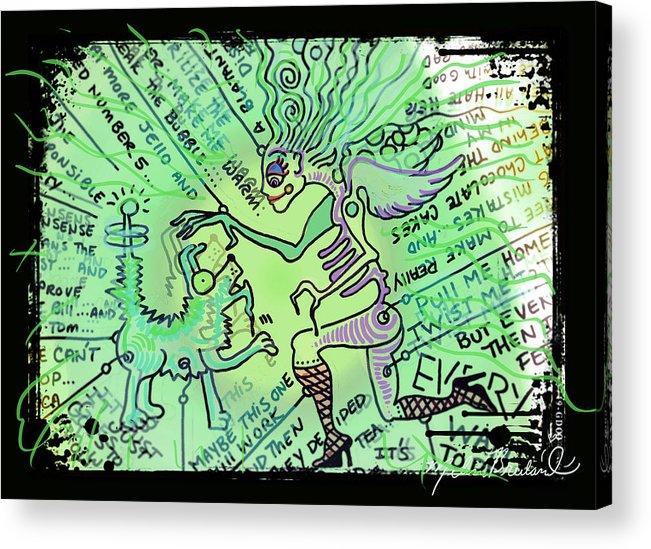 Dada Acrylic Print featuring the digital art Dada Doodle In Green by Melissa Wyatt