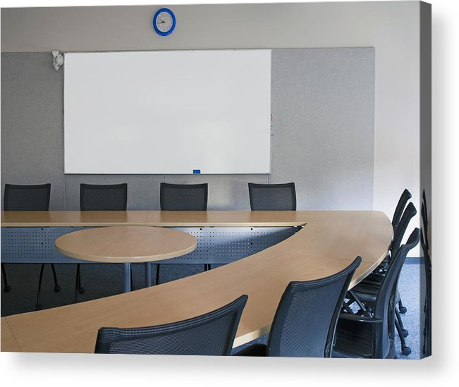 Mood Acrylic Print featuring the photograph Empty Boardroom Or Meeting Room In An by Marlene Ford