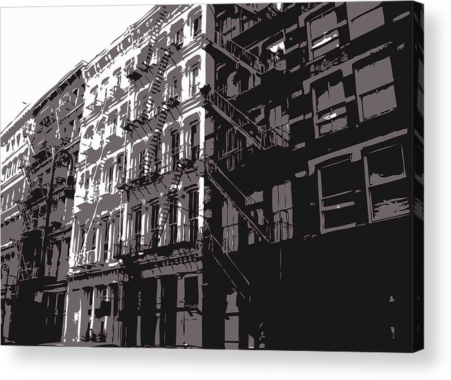 New York City Fire Escapes Acrylic Print featuring the photograph Fire Escapes Bw3 by Scott Kelley