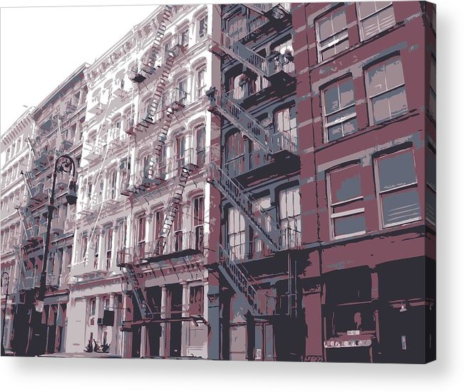 New York City Fire Escapes Acrylic Print featuring the photograph Fire Escapes Color 6 by Scott Kelley