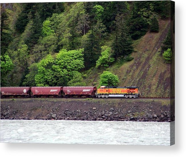 Train Acrylic Print featuring the photograph Freight Train Traveling Up The Gorge by Charles Robinson