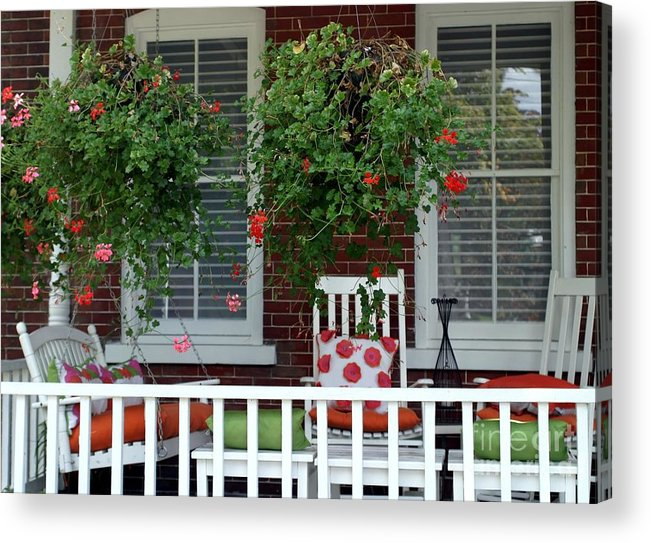 Porch Acrylic Print featuring the photograph Geranium Good Times 2 by Living Color Photography Lorraine Lynch