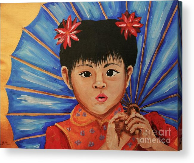 Chinese Acrylic Print featuring the painting Girl And Umbrella by Cris Motta