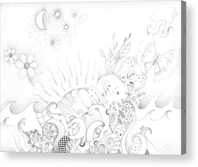 Earth Acrylic Print featuring the drawing In A World Of Wonder by Helena Tiainen